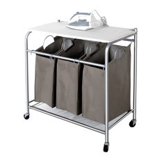 suds 3section rolling hamper with ironing board hampers