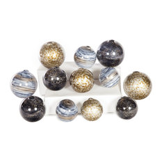 Glass Spheres Set of 12 In Emperors Stone, Cheers & Sea Pearls