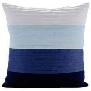Color Block Ombre Blue Cotton Linen 30x30 Cushions Cover, Cool Breeze