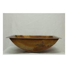 "20"" Rectangular Canoe Hammered Copper Bathroom Sink"