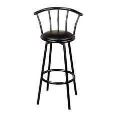 """Coaster Buckner 29"""" Casual Metal Bar Stool With Faux Leather Swivel Seat, Black"""