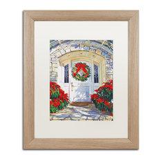 "David Lloyd Glover 'Poinsettia House' Art, Birch Frame, 16""x20"", White Matte"