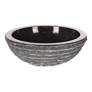Black Round Marble Vessel Sink, 40 cm