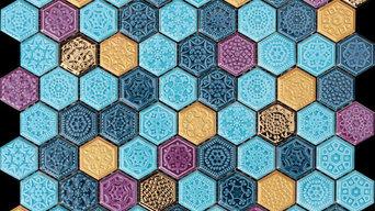 mosaico hexagono turquesa