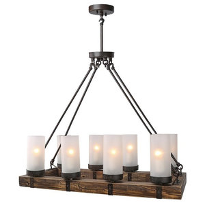 Vineyard Rustic Style 6 Light Glass Fixture Metal And Wood Ceiling