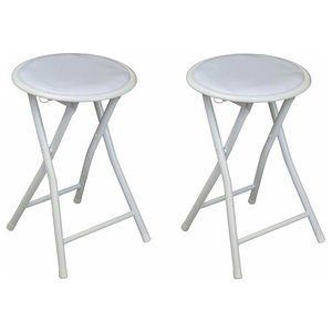 Contemporary 2 Round Stools With White Steel Frame, Padded Seat Folding Design