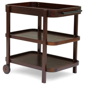 Griffin Traditional Acacia Wood Bar Cart with 3 Shelves