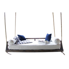 Piper Wood Porch Swing Bed, Charred Ember Finish, Twin Mattress Size