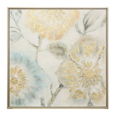 """Tulip Tree Blooms, 40""""x40"""" Hand Embellished With Gold Canvas Print, Framed"""