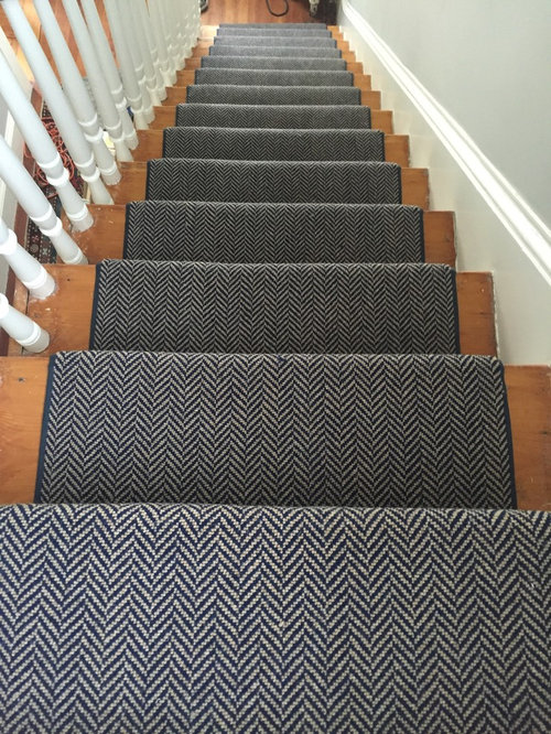 Navy Natural Herringbone Stair Runner In Dedham Ma