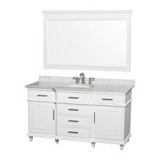 """Berkeley 60"""" Vanity, White, Mirror 56"""", Round, White Carrera Marble"""