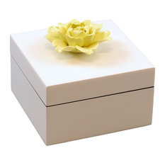 Lacquer Small Square Box, Yellow Flower Handle White Box