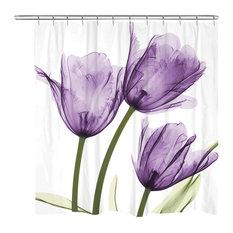 Laural Home Purple Tulip Trio Shower Curtain