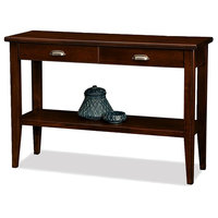 Contemporary Hall Console Table, Mahogany Wood, 2-Drawer, Beaded Edges