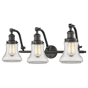 Innovations 3-Light Bellmont Bathroom Fixture, Oiled Rubbed Bronze, Clear Glass