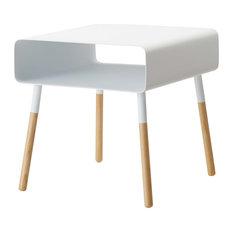 Plain Side Table with Storage Shelf, White