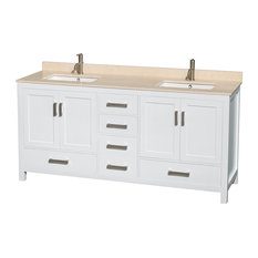 "Sheffield 72"" White Double Vanity, Ivory Marble Top and Undermount Square Sink"