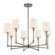 Sonneman 2476 Embassy 8 Light LED Chandelier with Off-White Cotton Shades
