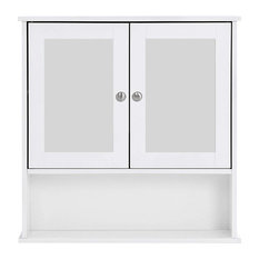 Wall Mounted Storage Unit, Wood With White Finish, Mirrored Doors, Open Shelf