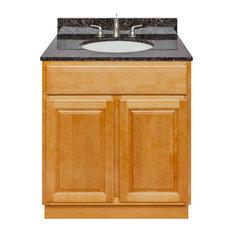 Brown Bathroom Vanity 30-inch Tan Brown Granite Top Faucet LB4B