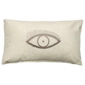 Eye Rectangular Scatter Cushion, Beige and Brown, 50x30 cm