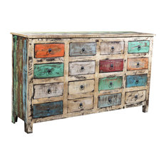 VidaXL Reclaimed Wood Cabinet Storage With 16 Drawers, White