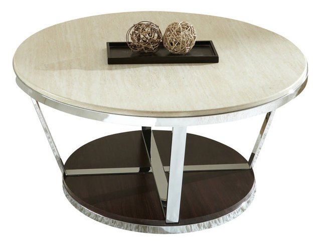 Steve Silver Bosco 36 Inch Round Faux Marble Cocktail
