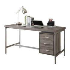 """Monarch Specialties - 60"""" Computer Desk With Silver Metal, Dark Taupe - Desks and Hutches"""