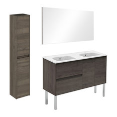 Ambra 120F Double Complete Vanity Unit With Column And Mirror Samara Ash
