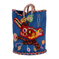 Hand-Knotted Nathalie Lété Basket Blue With Red and Yellow Bird