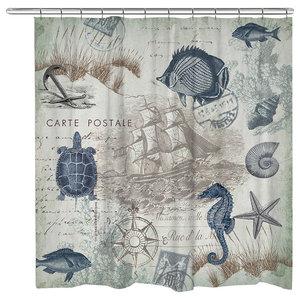 Lake Rules Print1216 Seaside Postcard Shower Curtain