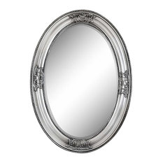 Decor Love - Oval Wall Mounted Mirror With Solid Wood Rococo Frame, 50x70 cm - Wall Mirrors