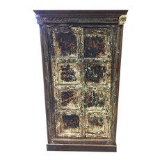 Mogul Interior Consigned Antique Rustic Cabinet Teak Doors Distressed Furniture Spanish Style Accent