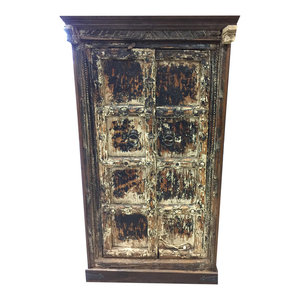 Mogul Interior - Consigned Antique Rustic Cabinet Teak Doors Distressed Furniture Spanish-Style - Accent Chests And Cabinets