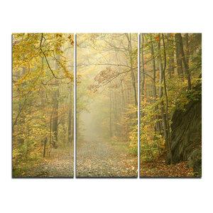 """Autumn Forest Path on Misty Morning"" Photo Wall Art, 3 Panels, 36""x28"""