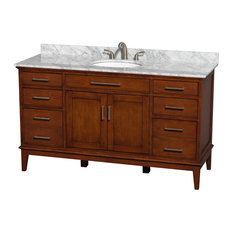 """Hatton 60"""" Light Chestnut Single Vanity, White Carrera Marble Top and Oval Sink"""