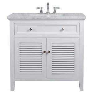 "36"" Genevieve Single Sink Vanity, Marble Carrara White Top, White"