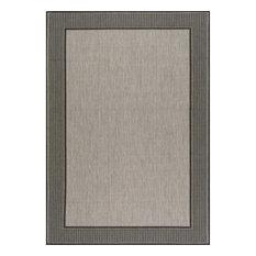 Outdoor Beige Machine Made Area Rug, Gray, Gray, 8'x10'oval