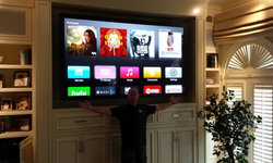 The lighting is bad but the TV is AWESOME! Rancho Santa Fe home automation proje
