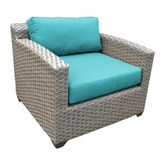 TK Classic Florence Wicker Patio Club Chair in Turquoise