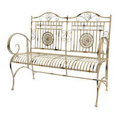 Rustic Metal Garden Bench, Distressed White