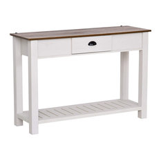 Console Table Slatted Bottom Shelf With Small Center Storage Drawer White