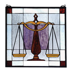 "18""Wx18""H Judicial Stained Glass Window"