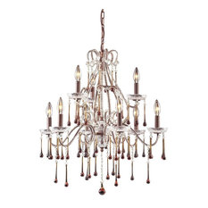 9-Light Chandelier, Rust and Rose Crystal