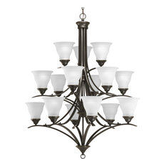 Progress Lighting 15-Light Chandelier With Etched Glass Shades, Antique Bronze