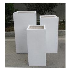 Tall Square Contemporary White Light Concrete Planter H70 L33 W33 cm