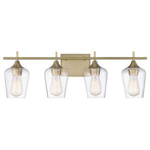 Front Street Valor 4 Light Bath Bar - Warm Brass