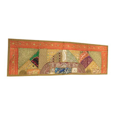 Mogul Interior - Consigned Antique Fabric, Orange Sequin Embroidered Tapestry - Table Runners