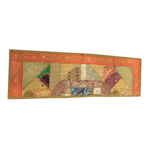 Mogul Interior - Consigned Antique Fabric, Orange Sequin Embroidered Tapestry - Tapestries