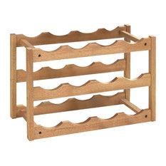 Traditional Wine Rack, Walnut Finished Wood With 12-Bottle Capacity